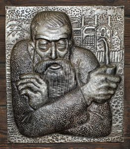 Hammered portrait of grandpa Slyshko by Ural jeweler and artist-monumentalist Vladimir Sochnev
