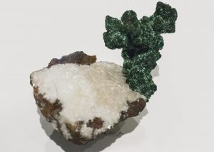 Malachite coating Copper on Calcite from Ural Mountains, Russia